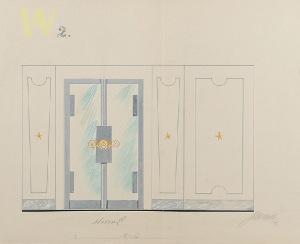 Tadeusz GRONOWSKI (1894-1990), Trzy  projekty wnętrza - W2, 1962