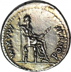 """Cesarstwo Rzymskie, Tyberiusz (August 14-37 ne), Denar (tzw. """"Tribute Penny""""), mennica Lugdunum (Lion)."""