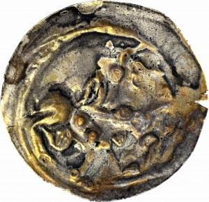 RRR-, Mieszko III Stary 1173-1202, Gniezno, Brakteat łaciński, Książę na koniu, bez napisu hebrajskiego, niekatalogowany