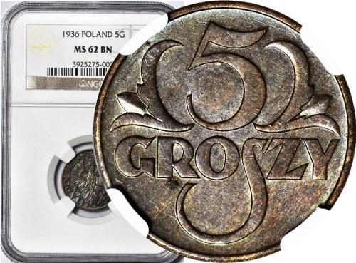 5 groszy 1936, mennicze, kolor BN