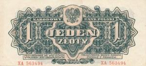 lot 4 szt. 1 złoty 1944 ...owym, ser. XA, XE, XK, XM