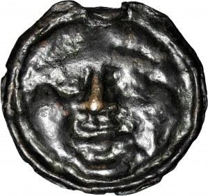 Grecja, Olbia, AE38 ~400-350pne, głowa Gorgony / ptak łapiący delfina