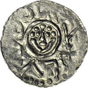 """RR-, Bolesław III Krzywousty 1107-1138, denar typu """"ioannes"""" przed 1107, mennica Wrocław, menniczy, R8"""