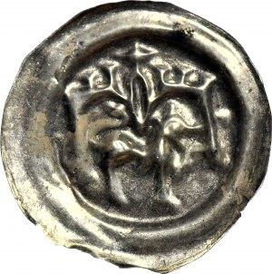 RRR-, Leszek Biały 1194-1227, Kraków, Brakteat, Lew pod budowlą, R7?