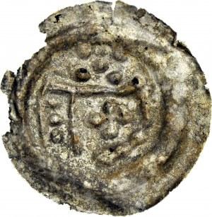 RR-, Zakon Krzyżacki, Brakteat 1236-1248, Toruń, Ramię z proporcem, 5 kul