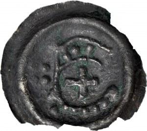 RR-, Zakon Krzyżacki, Brakteat 1236-1248, Toruń, Ramię z proporcem, 4 kule