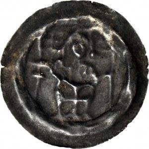 RR-, Zakon Krzyżacki, Brakteat 1247-1258, Rycerz z tarczą, piękny