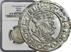 Zygmunt I Stary, Grosz 1535, Toruń, piękny, menniczy