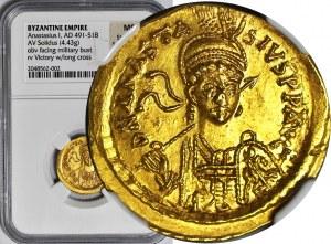 Cesarstwo Bizantyjskie, ANASTAZJUSZ (cesarz bizantyjski 491-518 ne.) Solid b.d. CONOB, przebity z innego solida
