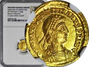 WALENTYNIAN III ( cesarz bizantyjski 425-455 ne ), Tremissis b.d. COMOB, mennica Rzym lub Rawenna, menniczy