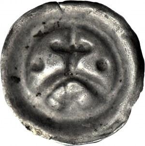 R-, Zakon Krzyżacki, Brakteat, koniec XIII w., Krzyż prosty na arkadzie, pod łukiem gwiazda