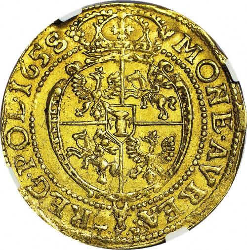 RRR-, Jan Kazimierz, Dwudukat 1658 Poznań, TLB, okrągła tarcza, ilustrowany w Kalenieckim