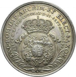 RR,- August II Mocny. Medal Koronacyjny 1697, bardzo rzadki