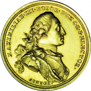 RRR-, August III Sas, Medal w złocie wagi 4 DUKATÓW, 1747 na ślub córki Marii Anny