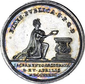 August II Sas, Medal 1733, składanie wierności nowemu elektorowi