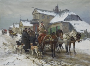 Wasilewski Czesław (I. Zygmuntowicz), SPOTKANIE PRZED KARCZMĄ, OK. 1920