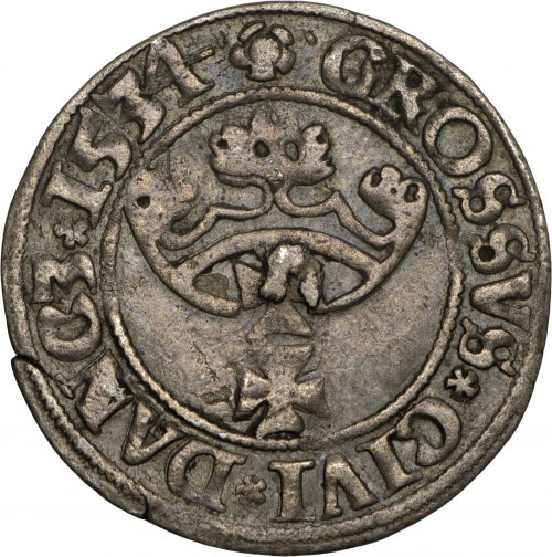 Zygmunt I Stary, grosz 1534, Gdańsk, PR na awersie