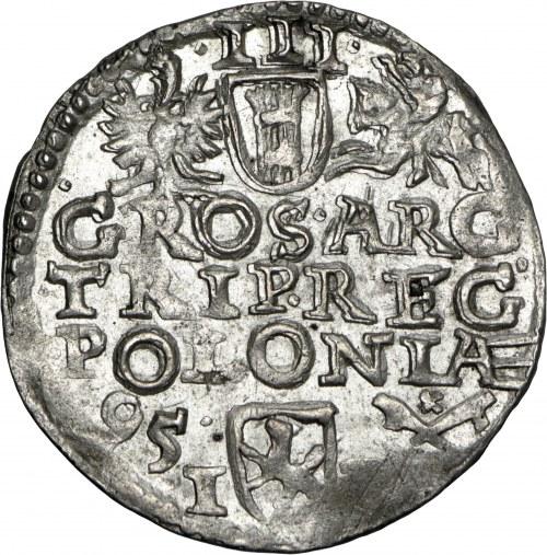 Zygmunt III Waza, trojak 1595, Poznań, korona króla z trójlistkiem