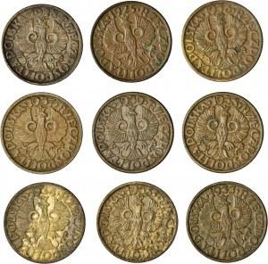 II RP, zestaw 9 monet, 1 gr