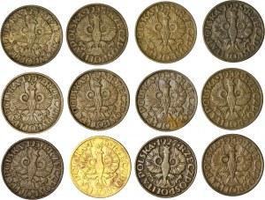 II RP, zestaw 12 monet, 2 gr