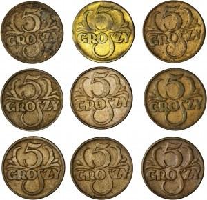 II RP, zestaw 9 monet, 5 gr