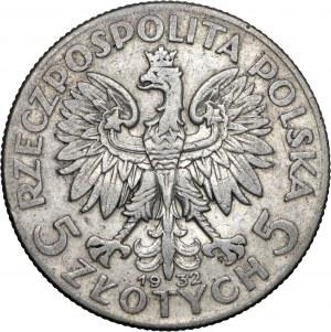 II RP, 5 zł 1932, Głowa Kobiety, Ag 750, rzadsza odmiana ze znakiem mennicy