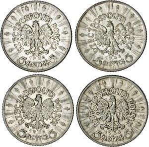 II RP, zestaw 4 monet, srebro, Piłsudski 5 zł
