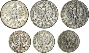 II RP, zestaw 6 monet (3x2 zł głowa kobiety i 3x5 zł głowa kobiety), srebro, Ag 750