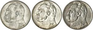 II RP, zestaw 3 monet, 10 zł Józef Piłsudski, srebro, Ag 750