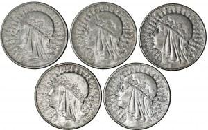 II RP, zestaw 5 monet, 10 zł głowa kobiety, srebro, Ag 750