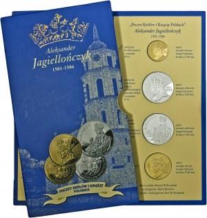 Poczet Królów i Książąt Polskich, Aleksander Jagiellończyk, zestaw 4 medali, mosiądz srebrzony i mosiądz złocony