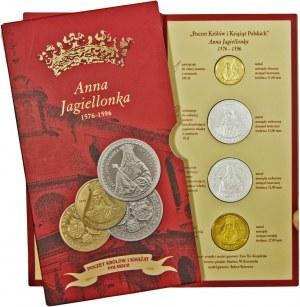 Poczet Królów i Książąt Polskich, Anna Jagiellonka, zestaw 4 medali, mosiądz srebrzony i mosiądz złocony, bardzo niski numer zestawu - 10