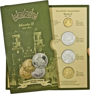 Poczet Królów i Książąt Polskich, Mieszko II, zestaw 4 medali, mosiądz srebrzony i mosiądz złocony