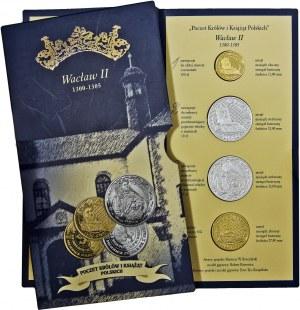 Poczet Królów i Książąt Polskich, Wacław II, zestaw 4 medali, mosiądz srebrzony i mosiądz złocony