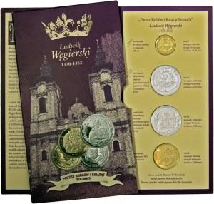 Poczet Królów i Książąt Polskich, Ludwik Węgierski, zestaw 4 medali, mosiądz srebrzony i mosiądz złocony