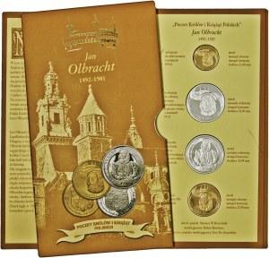 Poczet Królów i Książąt Polskich, Jan Olbracht, zestaw 4 medali, mosiądz srebrzony i mosiądz złocony