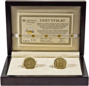 Poczet Królów i Książąt Polskich, Wacław II, popiersie i półpostać, zestaw 2 medali, złoto Au 900, 2x8 g, niski nakład, tylko 100 zestawów