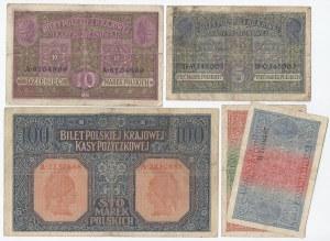 zestaw 5 banknotów, Generalne Gubernatostwo Warszawskie, 1,2,5, 10 i 100 marek, 1916