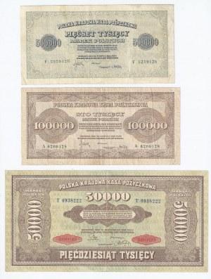 zestaw 3 banknotów, Polska Krajowa Kasa Pożyczkowa, 50 000 marek polskich 1922, 50 000 marek polskich 1923 i 100 000 marek polskich 1923