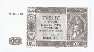 replika banknotu 1000 zł, 1 sierpnia 1941, seria MCSM