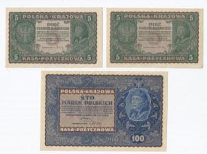 zestaw 7 banknotów, Polska, 2x5 marek polskich, 100 marek polskich, 4x1 000 marek polskich, 1919