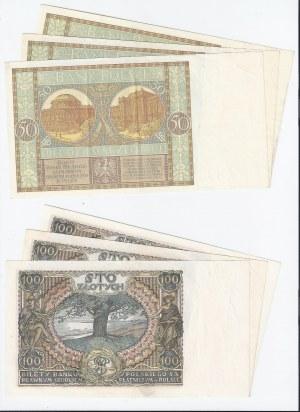 zestaw 6 banknotów, Polska, 3x50 zł 1929, 3x100 zł 1934