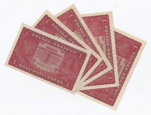zestaw 5 banknotów, Polska, 5x1 marka polska, 1919