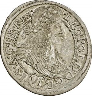 Śląsk, Leopold, 6 krajcarów 1665, Kłodzko, FBL, odmiana legendy na awersie (…)G ·R· VI · I(…), przyjemny, rzadko pojawiący się w handlu walor