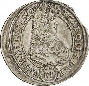Śląsk, Karol Fryderyk, 6 krajcarów 1705, rzadka moneta