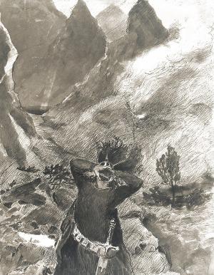"""Włodzimierz TETMAJER (1862-1923), Wygnanie - ilustracja do książki Kazimierza Przerwy Tetmajera """"Anioł Śmierci"""""""
