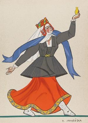 """Zofia STRYJEŃSKA (1894-1976), Z cyklu: """"Stroje polskie"""" - plansza nr 39, 1939"""