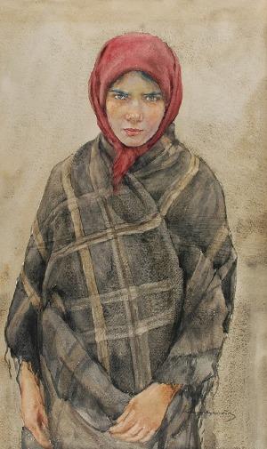 Aleksander AUGUSTYNOWICZ (1865-1944), Wiejska dziewczyna w czerwonej chustce