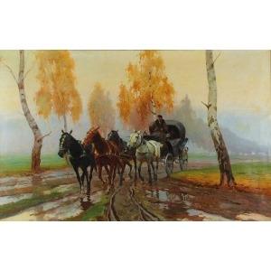 Franciszek ZYGMUNTOWICZ (1875-1947), Błotnistą drogą, 1916