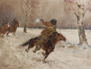 Jerzy KOSSAK (1886-1955), Pościg za bolszewikiem - Ucieczka, 1939